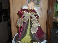 "12"" Tall Angel tree topper or centerpiece display. burgandy and green dress!."