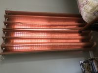 "4 Curtain Panels (orange/rust). Fit 2 windows up to 34""W x70""H (Includes curtain rods for 2 win..."
