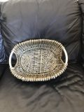 Oval metal and wicker basket