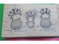 USED 200 House Mouse Rubber Stamp 1999 Stampa Rosa Birthday