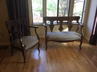 ANTIQUE ORNATE LOVESEAT & CHAIR. GOOD CONDITION