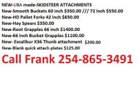 attachments for skid steer- grapple, forks, buckets etc