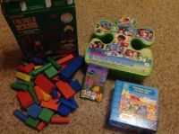 Wood blocks, puzzles and card game