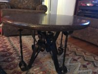 Round Coffee Cocktail or End Table - vintage iron base