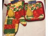 FRUIT Kitchen Set Large Oven Mitt & 2 Pot Holders Apples