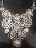 Beautiful statement necklace silver & seafoam green excellent cond $7