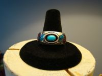 Mens New Navajo ROIE JAQUE Sterling Silver Turquoise Coral Chip Inlay Ring Sz 10.5