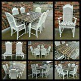 Antique farmhouse style dining room table with 6 chairs