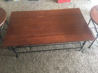 Wooden & Wrought Iron Coffee Table & 2 matching Side Tables