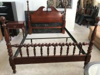 Full/Queen Cherrywood Four Post Bedframe and One Drawer Nightstand