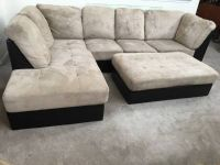 2pc Brown Leather Base/Beige Upholstered Sectional Sofa + Ottoman