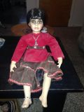 """16"""" porcelain indian doll, long braid in back. Must porch pick up in Bethlehem Township within 4 days of stating interest."""