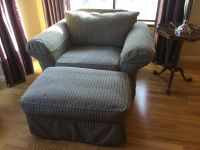 OVERSIZED CHAIR & OTTOMAN. GOOD CONDITION