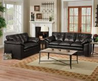 $799, Black or Brown Leather Sebring Sofa and Love Seat Set ONE TIME FURNITURE
