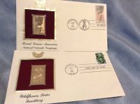 22K GOLD U.S. STAMP FIRST DAY OF ISSUE 2 SERIES