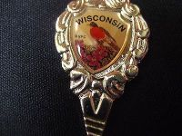 Wisconsin flowers shell vacation usa state collector souvenir spoon travel