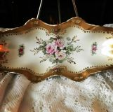Antique China Royal Crown Celery or Relish bowl or dish Hand Painted 1820 Japan White Gold trim gold scroll Pink blue and yellow flowers