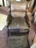 Antique/Vintage Hand Carved Leather Chair w/ Ottoman