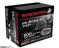 For Sale: Winchester HUNTER Ammunition 500 S&W Magnum 400 Grain Platinum Tip Hollow Point