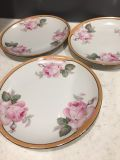 3 Numbered plates with pink roses from Germany. 8 Around