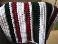 Hand knit Afghan, White Green, Dark Red NEW