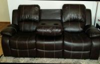 Brown Leather Reclining Sofa/Loveseat