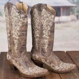 Boots - Corral Ladies Brown Crater Bone Embroidery Western Boot