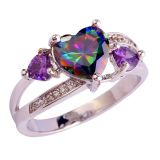 New - Rainbow Topaz and Amethyst Heart Ring - Size 6