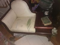 Antique telephone seat with table and drawer