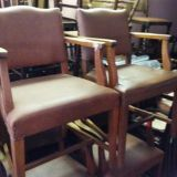 Antique Set of 6 Leather Oak Arm Chairs