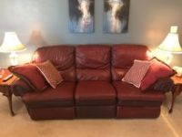 burgundy leather recliner couch
