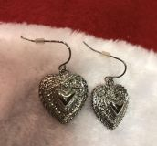 Brand New Silver Heart Earrings. Great for Valentine s Day