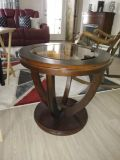 2 round end tables with glass insert