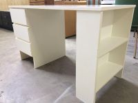 3 drawer white desk with built in bookcase