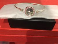 Bangle bracelet with floating heart pink stones and engraved Love