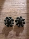 Vintage black clip-on earrings