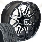 """Buy 20"""" Black CNC Face Lonestar Outlaw Wheels Tires Chevy Ford 275/55/20 20x9 6 lug motorcycle in Katy, Texas, United States"""