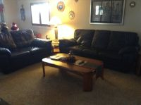 Navy blue leather sofa, love seat & over-sized chair