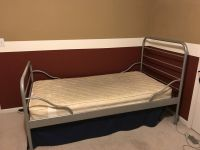 Twin Bed - Gray Metal - Mattress included