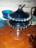 Vintage Fancy blue glass candy dish