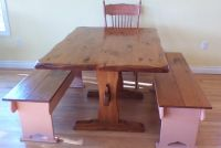 Solid Wood Table with 2 Solid Wood Benches and 1 Chair