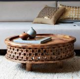 Carved Wood Coffee and Side Tables by West Elm