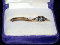 Vintage 1940 Orange Blossom 14K Wedding Ring & Diamond Engagement Ring