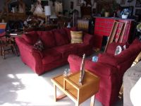 Two Piece Red Micro-Fiber Sofa and Loveseat Set