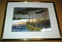 "Lionel Barrymore Vintage Color Etch Foil Print - ""Quiet Waters"" - Framed"