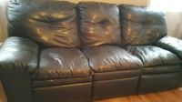 "Sofa / couch and loveseat Recliner . Black. "" leather - like "" MAKE AN OFFER"