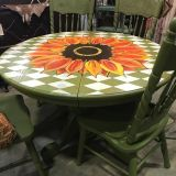 Oak Table with 4 chairs Painted olive green with sunflower farmhouse sunroom entryway
