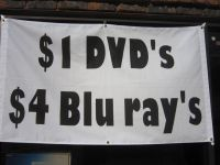 $1.00 DVD's and $2.00 and $4.00 BLUERAY's