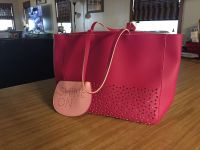 NWT laser cut Faux leather two toned tote wit matching coin purse