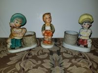 Set of 2 porcelain candle holders and 1 decor 5.5 inches each